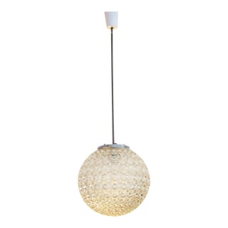 Large clear glass hanging lamp with bubble pattern, 1970s