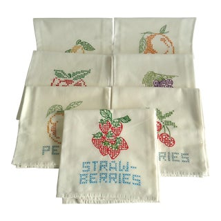 Fruit Motif Hand Embroidered Dish Towels - Set of 7