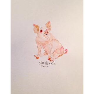 Contemporary Pink Pig Watercolor Painting