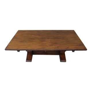 Carved Walnut Double Pedestal Dining Table with Stretcher