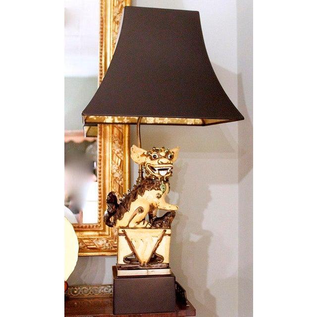 Chinese Yellow Glazed Ceramic Foo Dog Lamp - Image 2 of 9