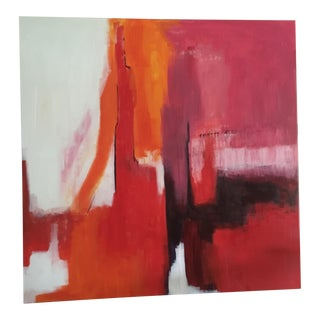 'Red Abstract' Acrylic Painting