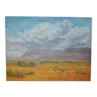 C.1975 Johnsen American West Landscape & Sheep Painting