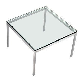 1970's Florence Knoll Glass and Chrome Table