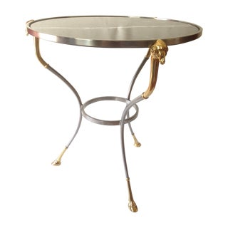 Silver Brass Marble Top Gueridon Table