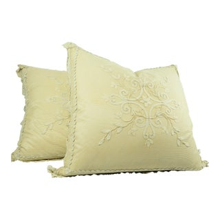 Vintage Large Ivory Lace European Bed Pillows - a Pair