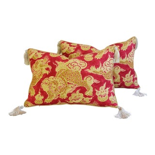 Chinoiserie Red & Gold Dragon Feather/Down Tasseled Pillows - a Pair