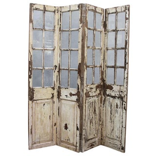 Antique Glass Paneled Screen