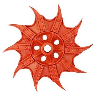 Vintage Orange Industrial Iron Cultivator Wheel