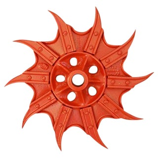 Vintage Orange Industrial Iron Cultivator Wheel