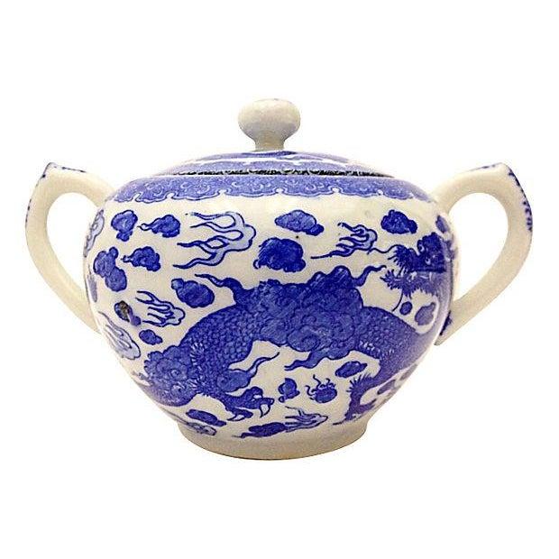 Image of Blue & White Chinese Dragon Sugar Bowl