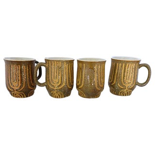 Mid-Century Rustic Coffee Mugs - Set of 4