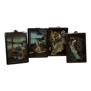 19th Century Reverse Paintings on Glass - Set of 4
