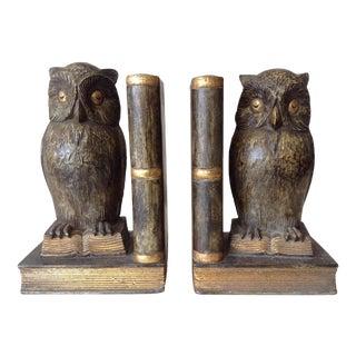 Plaster & Gilt Owl & Book Bookends - A Pair