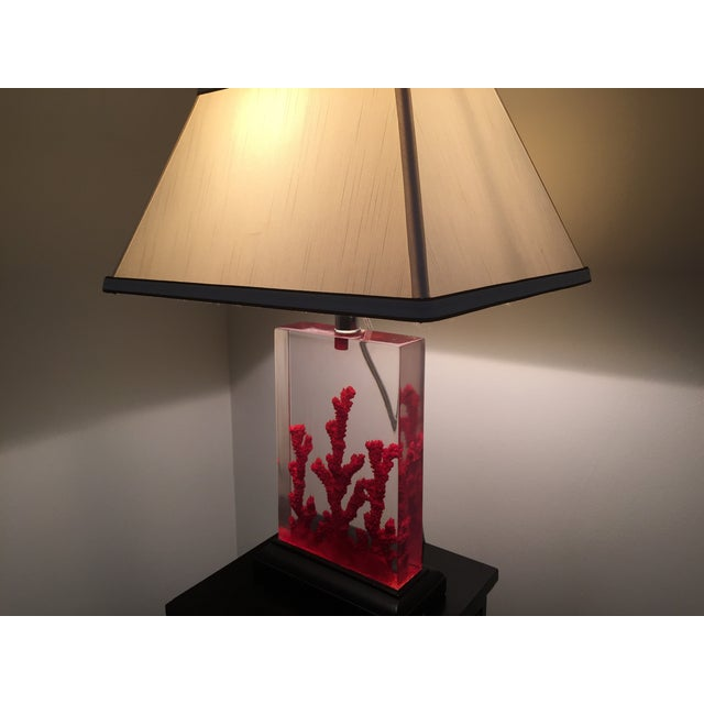 Lucite Red Coral Lamp - Image 9 of 9