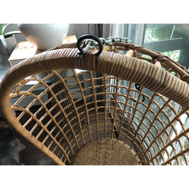 Vintage Hanging Rattan Egg Chair - Image 6 of 7