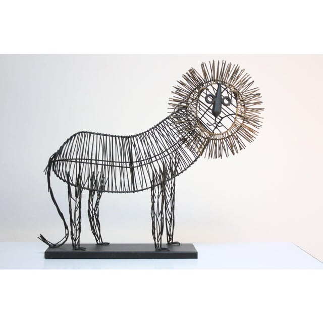 Brutalist Style Lion Wire Scupture - Image 2 of 11