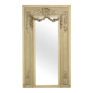 Antique French Painted Mirror With Rose & Leaf Relief