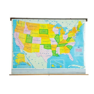 Vintage Modern School Usa Pull Down Map