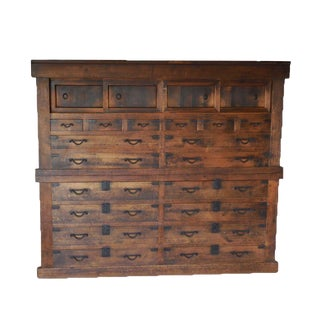 19th Century Japanese Large Double Tansu with 18 Drawers