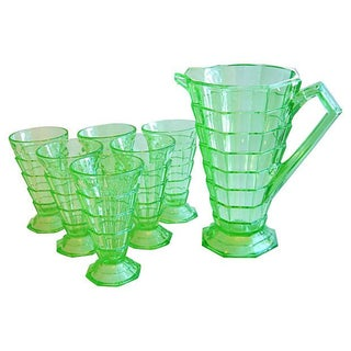 Mid-Century 1940s Glass Pitcher & Tumblers - 7 Pcs