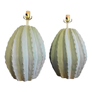 Organic Modern Pottery Lamps - A Pair