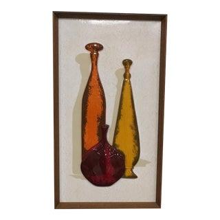 Mid-Century Modern Framed 3D Bottle Wall Art