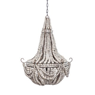 Pale Grey Hand Made Beaded Clay Chandelier