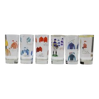 Hand-Painted Jockey Highball Glasses - Set of 6