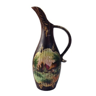 Vintage European Ceramic Hand-Painted Pitcher/Ewer
