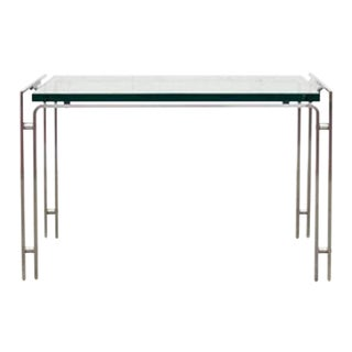 Metal Form Glass and Steel Side or Coffee Table