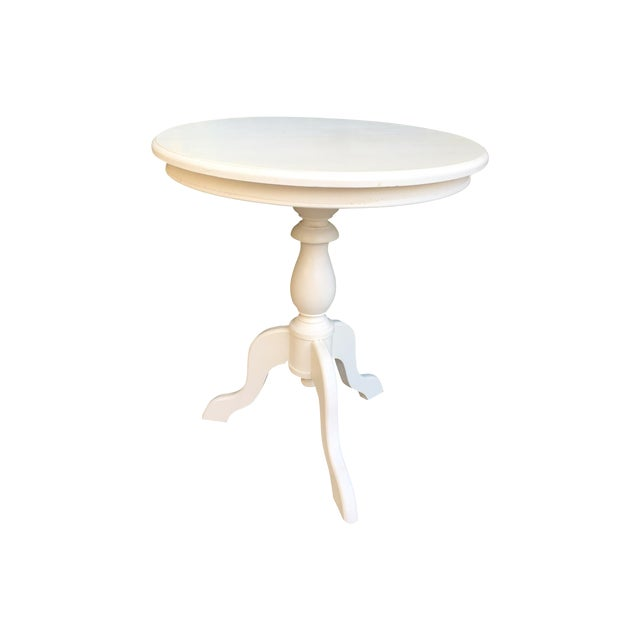 White Round Wooden Side Table - Image 1 of 4