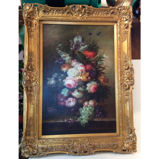 Large Floral Oil Painting in Ornate Gilded Frame - Image 2 of 10