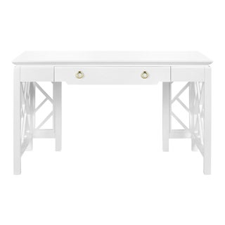 Modern Hollywood Regency Style White Lacquer Desk