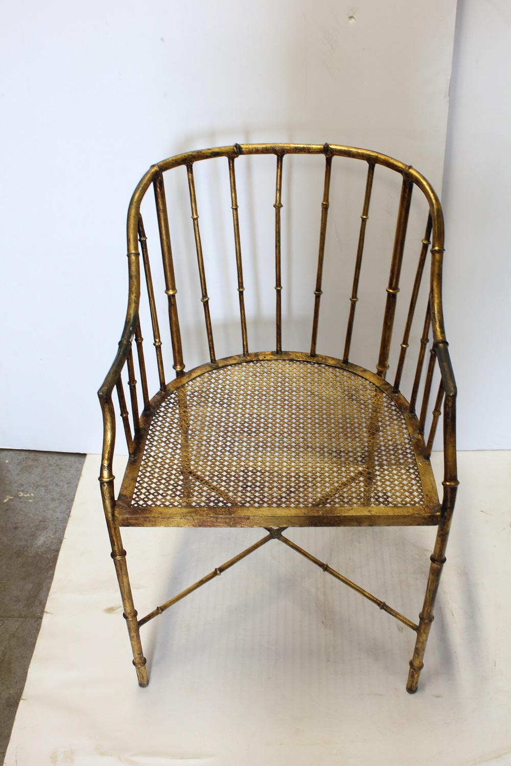 Exceptional 1930s Italian Gold Leaf Accent Chair