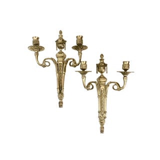 Vintage Brass 2-Arm Wall Sconces - A Pair