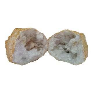 Pair of White Calcite Crystal Geodes