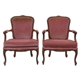 Louis XV Style Dusty Rose Armchairs - A Pair