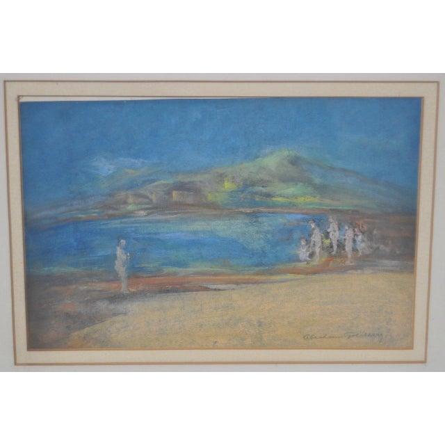 """Abraham Goldberg """"Coastal Scene w/ Figures"""" Pastel Painting c.1930s - Image 6 of 7"""