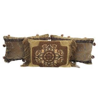 19th C. Antique Velvet & Embroidery Silk Pillows- Set of 3