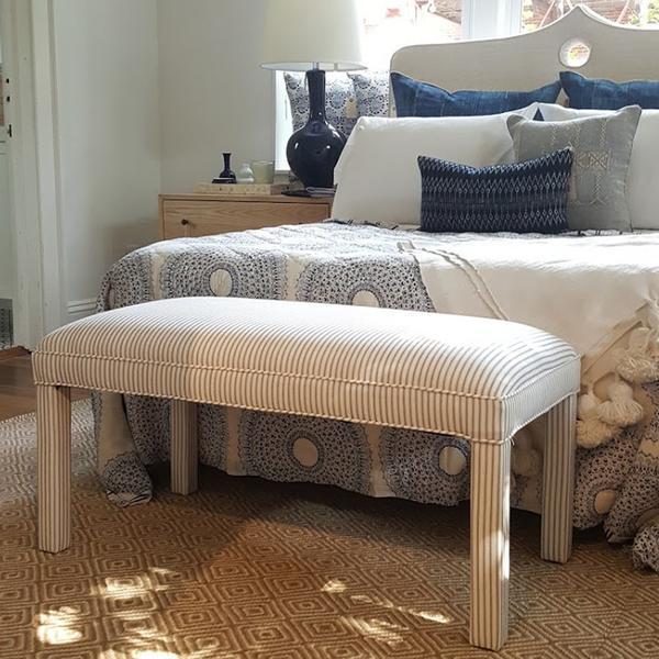 Parker Upholstered Bench in Ticking Stripe - Image 2 of 5