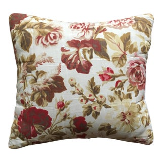 Vintage French Floral & Linen Textile Accent Pillow