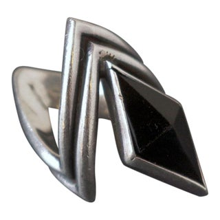 Antonio Pineda Sterling Silver and Onyx Ring
