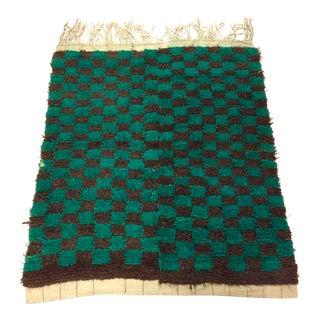 Turkish Checkered Angora Wool Rug - 3′6″ × 4′