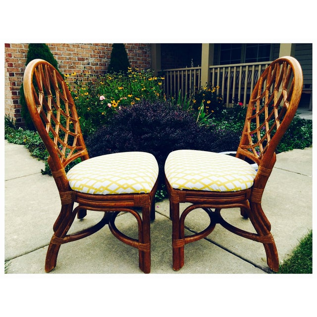 Image of Vintage Lane Reupholstered Rattan Chairs - A Pair