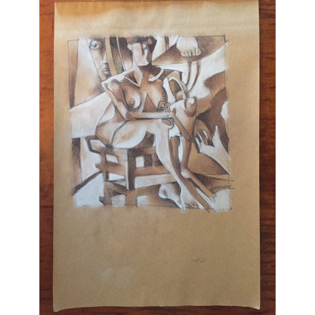 Vintage Cubist Style Drawing - Image 3 of 5