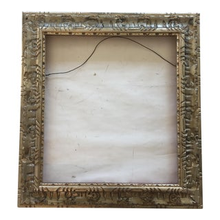 Vintage Carved Wood Silver Frame