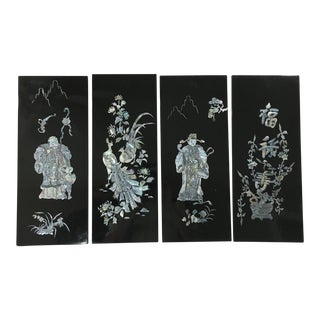 Japanese Black Lacquer Wall Art - 4 Panels