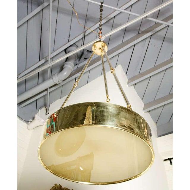 Paul Marra Brass Drum Chandelier - Image 6 of 10