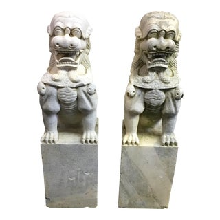 1920s Vintage Marble Foo Dogs- A Pair